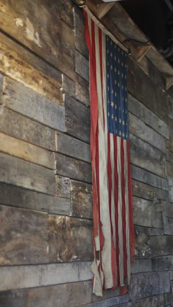 Barn with American flag