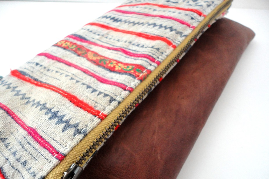 Hmong and leather clutch