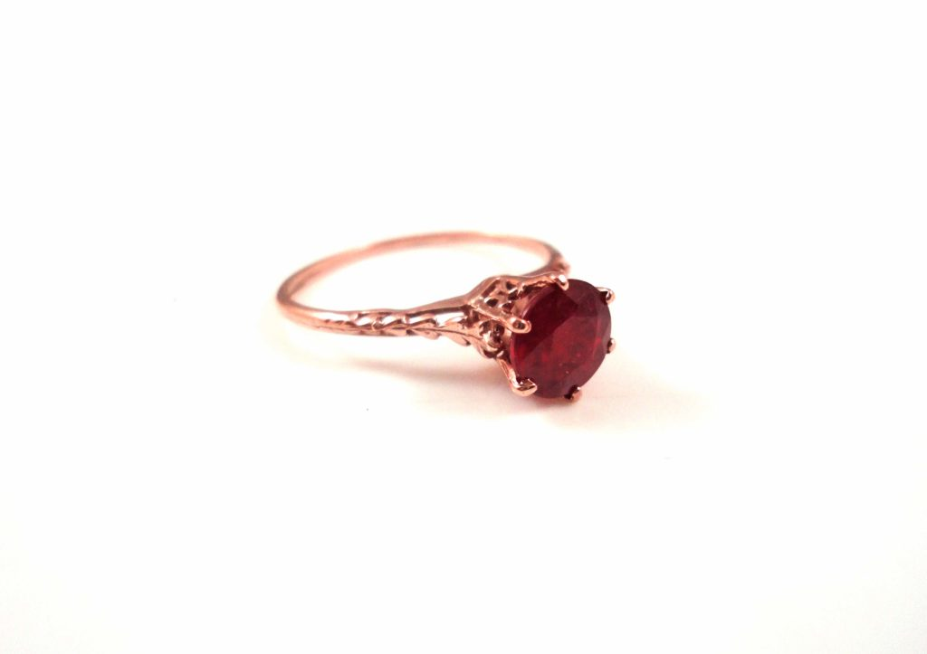 Vintage ruby rose gold ring